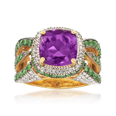 4.00 Carat Amethyst and 2.70 ct. t.w. Multi-Gem Ring in 18kt Gold Over Sterling, , default