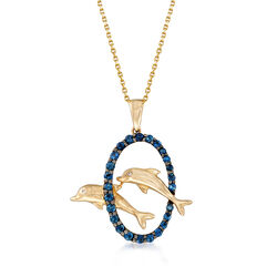 .60 ct. t.w. Sapphire Double Dolphin Pendant Necklace With Diamond Accents in 14kt Yellow Gold, , default