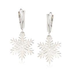 Sterling Silver Snowflake Drop Earrings, , default