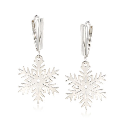 Sterling Silver Snowflake Drop Earrings, , default
