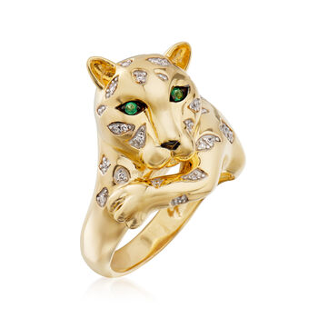 .10 ct. t.w. Diamond Cheetah Ring with Emeralds in 18kt Yellow Gold Over Sterling , , default