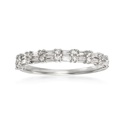 .30 ct. t.w. Round and Rectangular Baguette Diamond Ring in 14kt White Gold