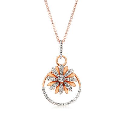 """C. 1990 Vintage Stefan Hafner """"Giantti"""" .40 ct. t.w. Diamond Flower Pendant Necklace in 18kt Rose Gold, , default"""