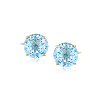 6.25 ct. t.w. Sky Blue Topaz Stud Earrings in 14kt Yellow Gold, , default