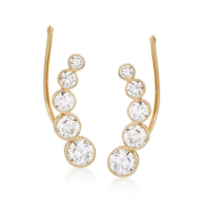 1.15 ct. t.w. Bezel-Set CZ Curved Ear Climbers in 14kt Yellow Gold, , default