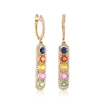 1.90 ct. t.w. Multicolored Sapphire and .57 ct. t.w. Diamond Linear Drop Earrings, , default
