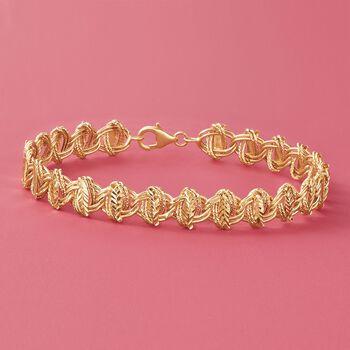 """14kt Yellow Gold Multi-Finish Leaf-Link Bracelet. 8"""", , default"""