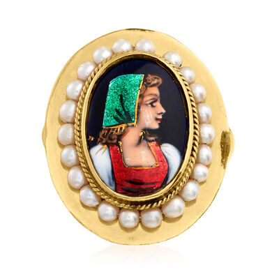 C. 1950 Vintage 2.9mm Cultured Pearl Hand-Painted Portrait Ring in 14kt Yellow Gold