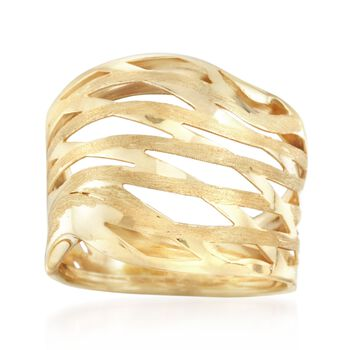 Italian 14kt Yellow Gold Satin-Finished and Polished Wave Ring, , default