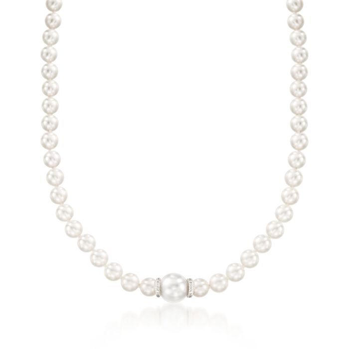"""Mikimoto """"Everyday Essentials"""" 7-7.5mm A+ Akoya and 11mm South Sea Pearl Necklace With Diamonds in 18kt White Gold. 18"""", , default"""