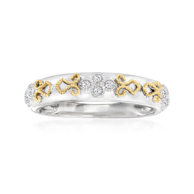 .10 ct. t.w. Diamond Ring in Sterling Silver and 14kt Yellow Gold