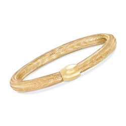 Italian 18kt Yellow Gold Mesh Tube and Bead Center Bangle Bracelet, , default