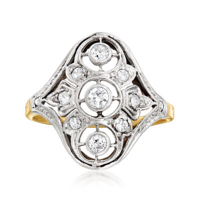 C. 1920 Vintage .30 ct. t.w. Diamond Filigree Ring in Platinum and 12kt Yellow Gold, , default