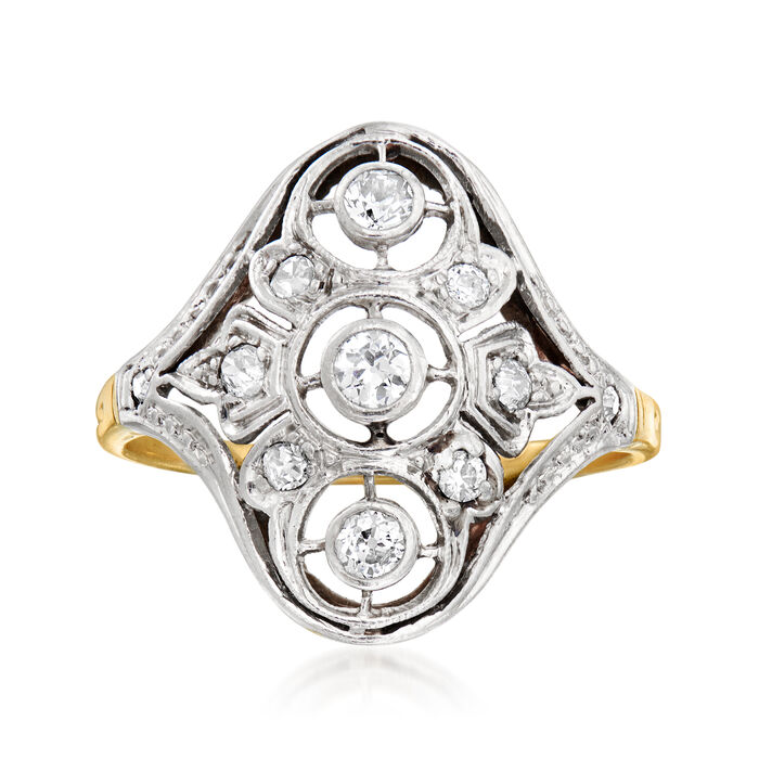 C. 1920 Vintage .30 ct. t.w. Diamond Filigree Ring in Platinum and 12kt Yellow Gold. Size 7, , default