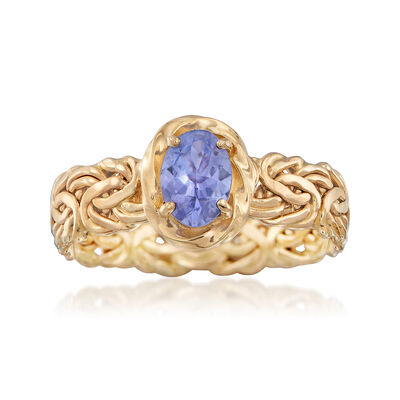 .60 Carat Tanzanite Byzantine Ring in 14kt Yellow Gold