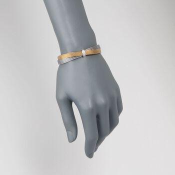 "ALOR ""Classique"" .16 ct. t.w. Diamond Two-Tone Cable Bracelet with 18kt White Gold. 7"""