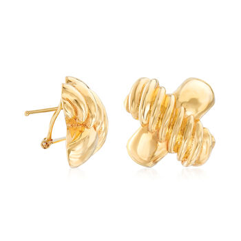 Italian 14kt Yellow Gold Ribbed X Clip-On Earrings