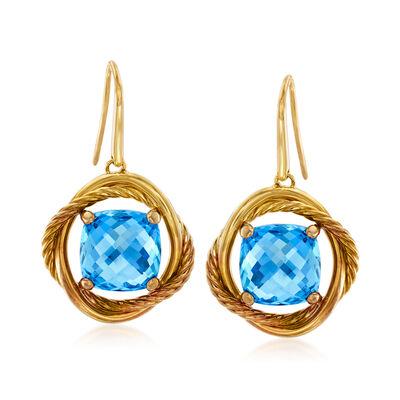 C. 1980 Vintage David Yurman 9.20 Carat Blue Topaz Drop Earrings in 18kt Yellow Gold