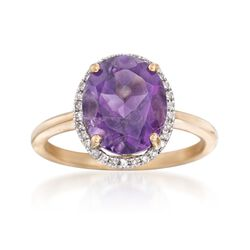 3.00 Carat Amethyst and .12 ct. t.w. Diamond Ring in 14kt Yellow Gold, , default