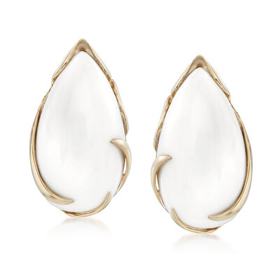 Pear-Shaped White Agate Cabochon Earrings in 14kt Yellow Gold