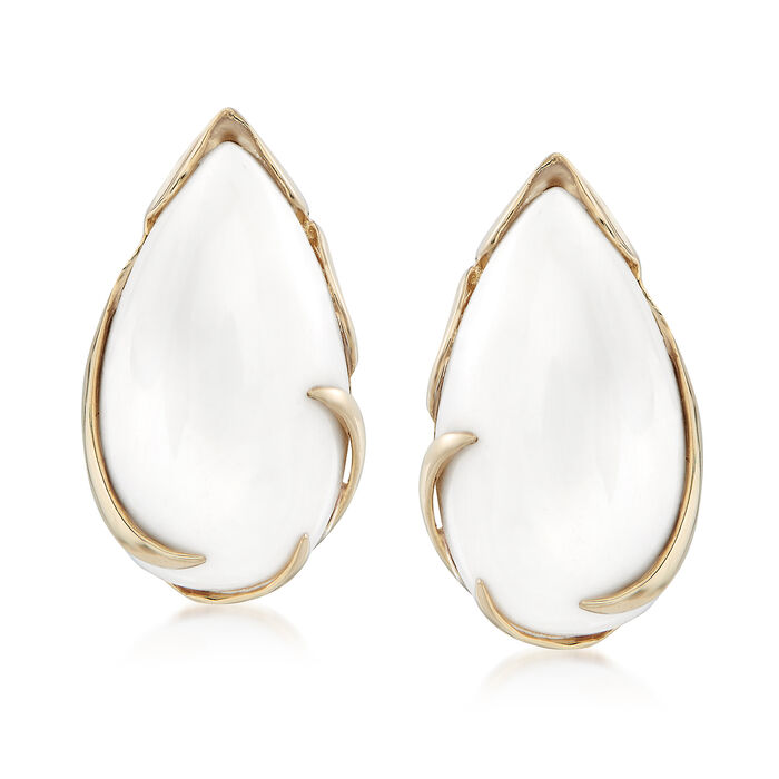 Pear-Shaped White Agate Cabochon Earrings in 14kt Yellow Gold., , default