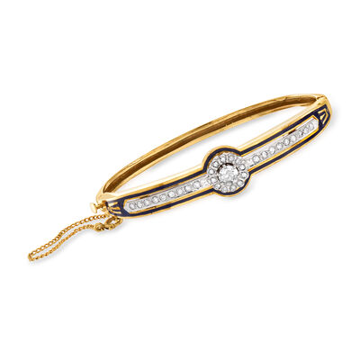 C. 1940 Vintage .95 ct. t.w. Diamond and Blue Enamel Bangle Bracelet in 14kt Yellow Gold, , default