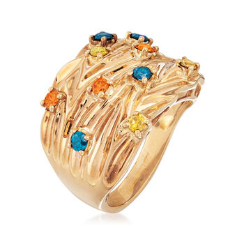 C. 1980 Vintage .75 ct. t.w. Multicolored Diamond Ring in 14kt Yellow Gold. Size 7.5, , default