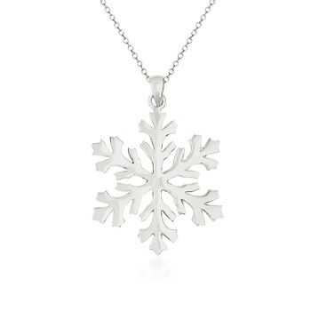 "Sterling Silver Snowflake Pendant Necklace. 18"", , default"