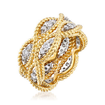 "Roberto Coin ""Barocco"" .95 ct. t.w. Diamond Roped Ring in 18kt Two-Tone Gold. Size 6.5"