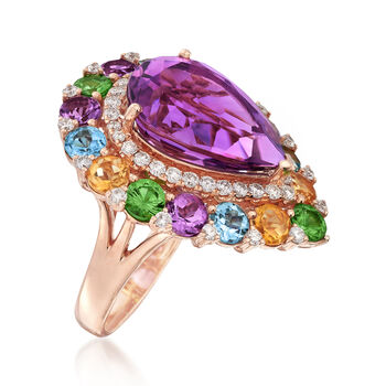 7.00 Carat Amethyst and 4.20 ct. t.w. Multi-Stone Ring in 18kt Rose Gold, , default