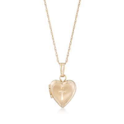 Baby's 14kt Yellow Gold Cross Heart Locket Necklace, , default