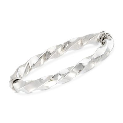 Italian Sterling Silver Twisted Bangle Bracelet, , default