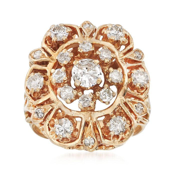 C. 1970 Vintage 1.25 ct. t.w. Diamond Cluster Cocktail Ring in 14kt Yellow Gold. Size 4.5, , default