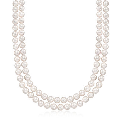 6.5-7mm Akoya Pearl Two-Strand Necklace in 14kt White Gold