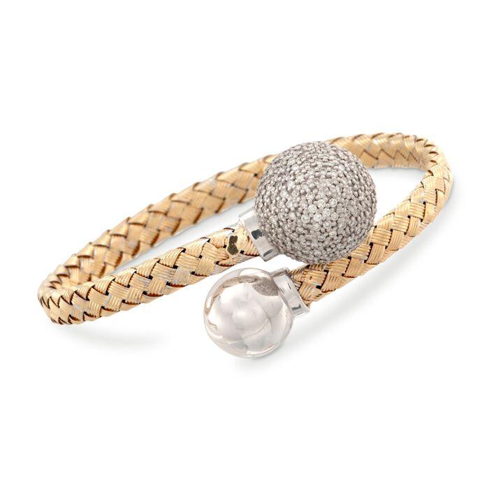 """Italian 1.57 ct. t.w. Diamond Bypass Bracelet in 14kt Two-Tone Gold. 7"""""""