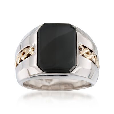 Men's Black Onyx Ring in Sterling Silver and 14kt Yellow Gold