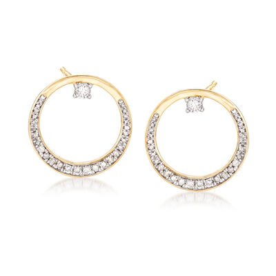 .50 ct. t.w. Diamond Open-Circle Drop Earrings in 14kt Yellow Gold, , default