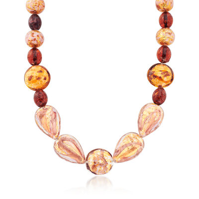 Multicolored Murano Glass Bead Necklace with 14kt Gold Over Sterling, , default