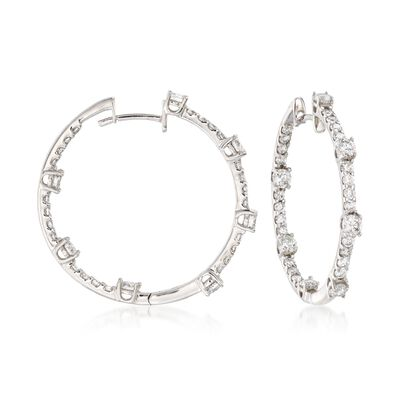2.10 ct. t.w. Diamond Inside-Outside Hoop Earrings in 14kt White Gold