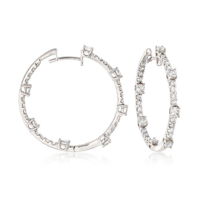 2.10 ct. t.w. Diamond Inside-Outside Hoop Earrings in 14kt White Gold