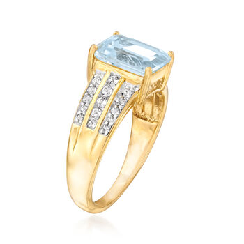 2.66 ct. t.w. White and Blue Swarovski Topaz Ring in 18kt Yellow Gold Over Sterling