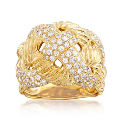 C. 1980 Vintage David Yurman 2.00 ct. t.w. Diamond Braided Ring in 18kt Yellow Gold, , default