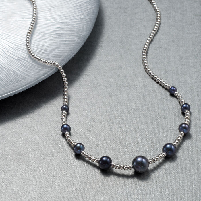 5-10.5mm Graduated Black Cultured Pearl and Sterling Silver Bead Necklace