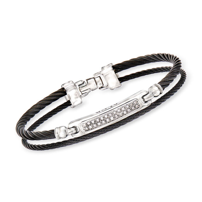 "ALOR ""Noir"" .13 ct. t.w. Diamond Black Stainless Steel Cable Bracelet with 18kt White Gold. 7"", , default"