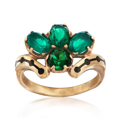 C. 1960 Vintage Green Glass Cluster Ring in 10kt Yellow Gold, , default