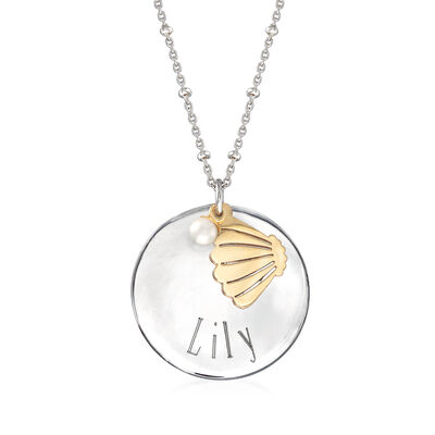Sterling Silver Personalized Disc Necklace with 4mm Cultured Pearl and 14kt Yellow Gold Shell Charm, , default