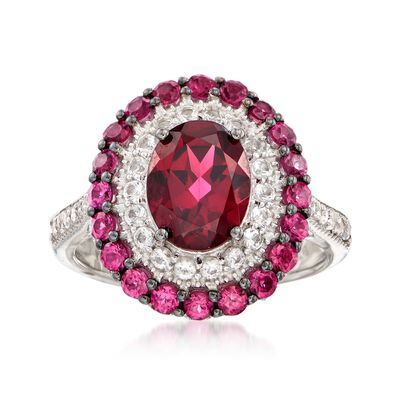 3.00 ct. t.w. Rhodolite Garnet and .35 ct. t.w. White Topaz Ring in Sterling Silver , , default