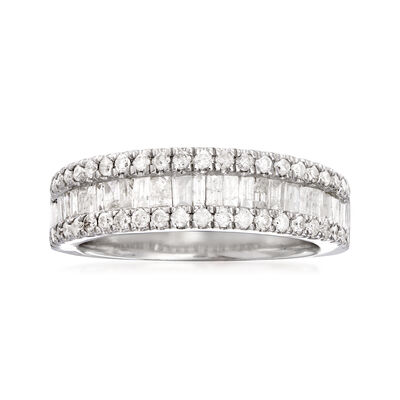 1.00 ct. t.w. Baguette and Round Diamond Ring in Sterling Silver, , default
