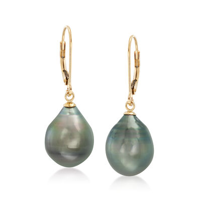 11-12mm Black Cultured Tahitian Pearl Earrings in 14kt Yellow Gold, , default