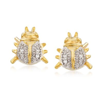 Diamond-Accented Ladybug Earrings in 18kt Gold Over Sterling, , default